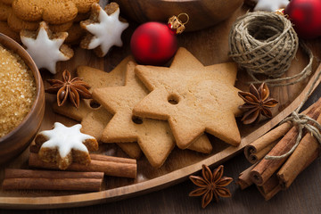 Assorted Christmas cookies, decorations and spices