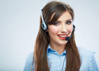 Woman call center operator. Young smiling female worker. Busine