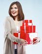 Smiling happy woman hold red gift box.