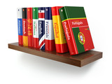 Fototapety Dictionaries on bookshelf white isolated backgound.