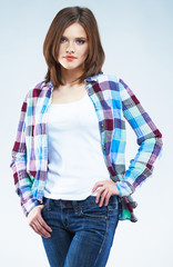 Casual fashion style young model.
