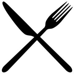 Messer und Gabel gekreuzt