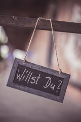 Schiefertafel, Schriftzug, Verlobung Willst Du?