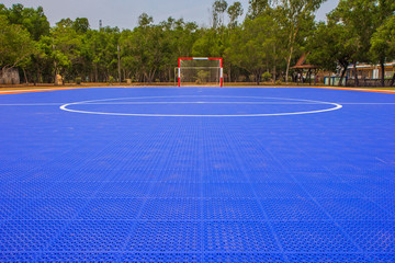 view of  blue soccer field