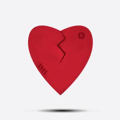 heartbroken on white background vector