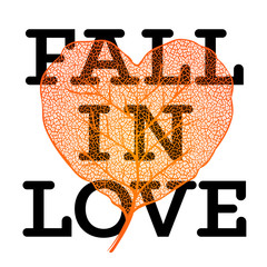 Fall in love - autumn sale poster with leaf heart shape
