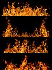 set of four orange flame strips isolated on black