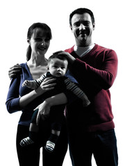parents with baby portrait silhouette