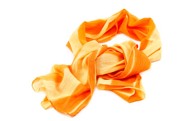 Orange scarf with tassels on white background.