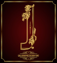 Calligraphic Design Font with Typographic Floral Elements. J