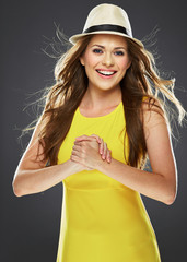 teeth smile woman portrait with crossed arm