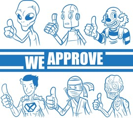 Characters showing approval