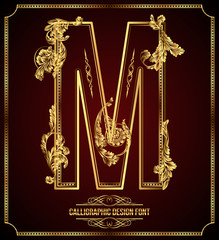Calligraphic Design Font with Typographic Floral Elements. M