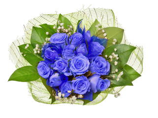 bunch of blue roses isolated on white