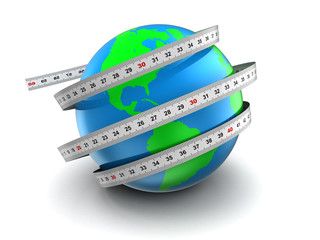 earth globe 3d measure