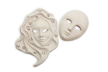 Venetian mask composition isolated with jewelry