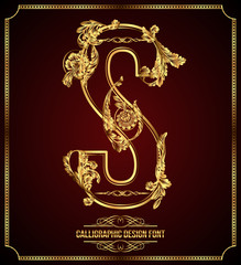 Calligraphic Design Font with Typographic Floral Elements. S