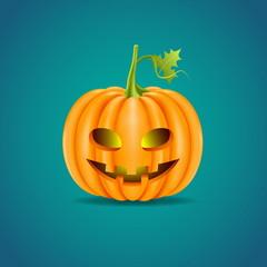 Halloween pumpkin head isolated on blue background