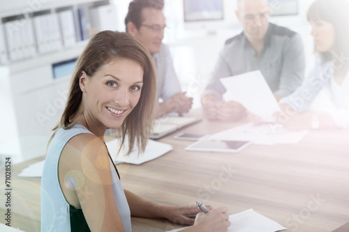 canvas print picture Portrait of beautiful woman attending business meeting