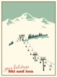 Winter background. Mountain landscape with ski lift - 71028700