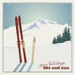 Winter  background. Mountains and ski equipment in the snow - 71028702