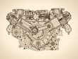 Old internal combustion engine, drawing. Vector - 71028770