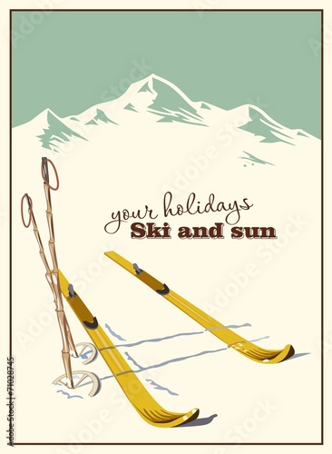 Winter  background. Mountains and ski equipment in the snow - 71028745