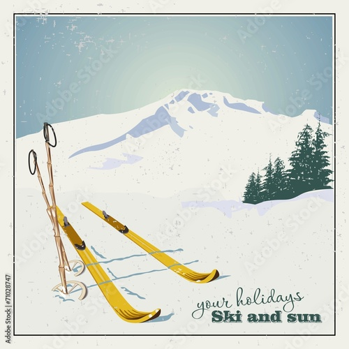 Winter  background. Mountains and ski equipment in the snow - 71028747