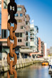 canvas print picture - Neue Gebaeude und Kette  in der Hafencity Hamburg