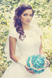 bride with a bouquet of stone, vintage