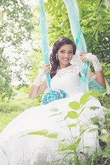 bride on a swing, tinted