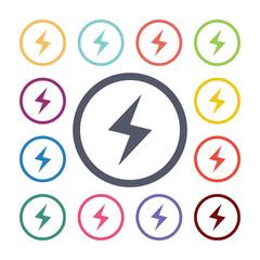 lightning flat icons set.