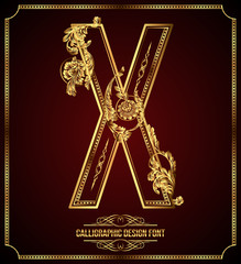 Calligraphic Design Font with Typographic Floral Elements. X