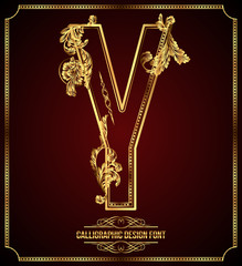 Calligraphic Design Font with Typographic Floral Elements. Y