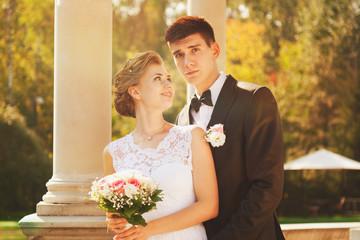 attractive bride and groom, wedding day