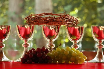 Chalices with the crown of thorns on a red stuff