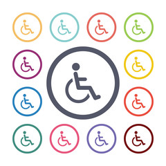 disabled flat icons set.