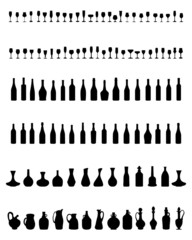 Silhouettes of pitchers, glasses and bottles, vector