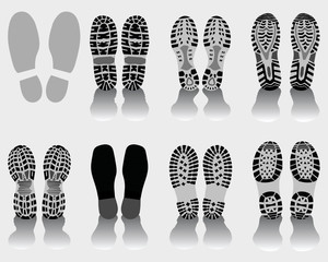 Vector illustration of shoe print, silhouettes and shadows