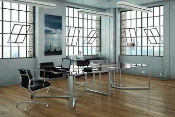 Büro in einem Loft mit Schreibtisch