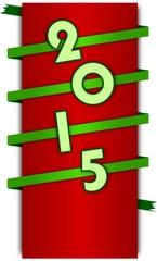 Happy new year 2015 sign on wrapped green ribbon
