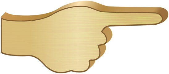 Wooden direction sign 3D hand with pointed finger