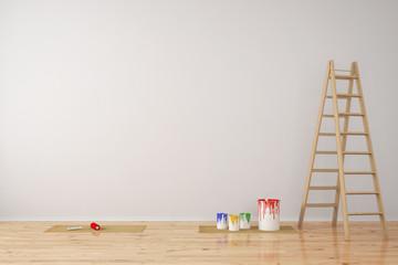Wand mit Farbeimern bei Renovierung