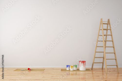 Leinwanddruck Bild Wand mit Farbeimern bei Renovierung