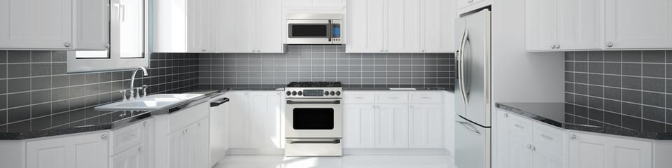 Panorama einer neuen leeren Küche