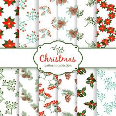seamless Christmas patterns. set.