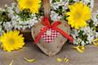 canvas print picture - Herz mit Blumen