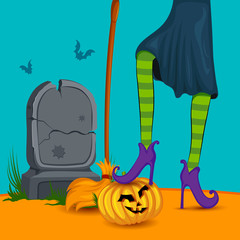 Halloween witch wearing striped stockings