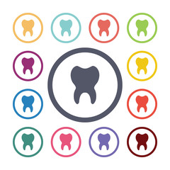 tooth flat icons set.