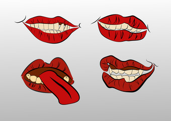 tattoo .Collection mouths with lips.